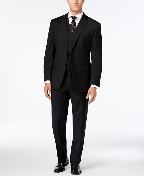 Lauren Ralph Lauren Black Solid Big and Tall Suit Classic-Fit Separates