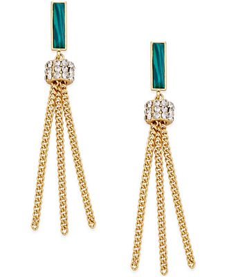 Bar III Gold-Tone Stone and Pavé Tassel Drop Earrings, Only at Macy's