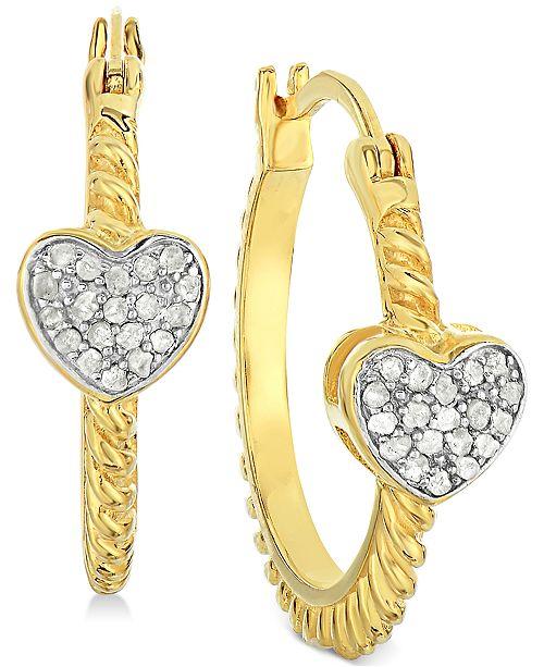 d3e70be5f Victoria Townsend Diamond Heart Hoop Earrings (1/4 ct. t.w.) in 18k ...