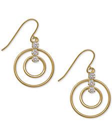 Open Circle Cubic Zirconia Drop Earrings in 10k Gold, 1 inch