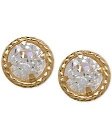 Cubic Zirconia Circle Stud Earrings in 10k Gold