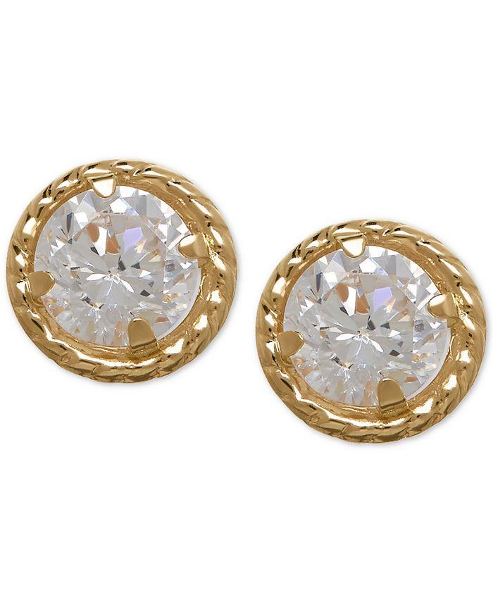 Macy's - Cubic Zirconia Circle Stud Earrings in 10k Gold
