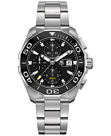 TAG Heuer Men's Swiss Automatic Chronograph Aquaracer Calibre 16 Stainless Steel Bracelet Watch 43mm