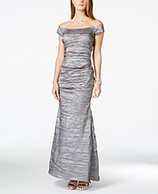 Off-The-Shoulder Taffeta Crinkled Gown