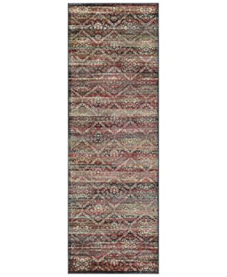 "CLOSEOUT! HARAZ HAR446 Red/Black 2'7"" x 7'10"" Runner Rug"