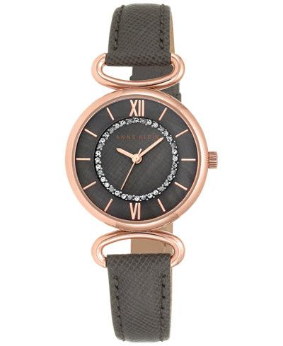Anne klein women 39 s black saffiano leather strap watch 32mm ak 2192rgtp watches jewelry for Anne klein leather strap