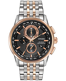 Citizen Men's World Chronograph Time AT Eco-Drive Stainless Steel Bracelet Watch 43mm AT8116-57E