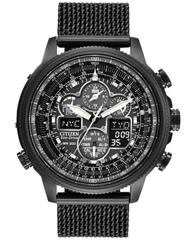 Citizen Men's Eco-Drive Navihawk AT Gray Ion-Plated Stainless Steel Bracelet Watch 48mm JY8037-50E