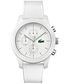 Lacoste Men's Chronograph 12.12 White Silicone Strap Watch 44mm 2010823