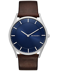 SKagen Men's Holst Brown Leather Strap Watch 40mm SKW6237