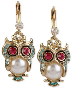 GOLD-TONE ORNATE OWL DROP EARRINGS
