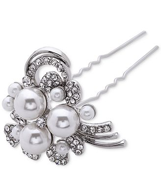Nina Silver-Tone Crystal and Faux-Pearl Set of Two Hairpins