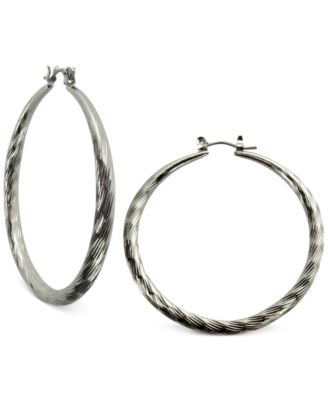 Image of GUESS Silver-Tone Textured Hoop Earrings