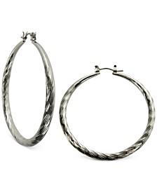 """Silver-Tone 2"""" Textured Hoop Earrings"""