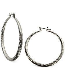 GUESS Silver-Tone Textured Hoop Earrings