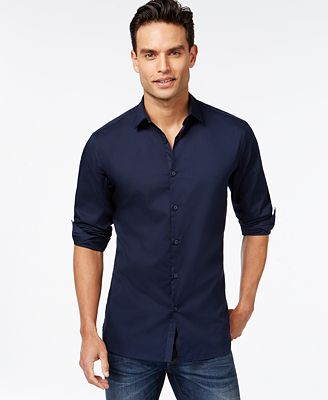 Alfani Men's Slim-fit Stretch Long-Sleeve Shirt, Only at Macy's ...