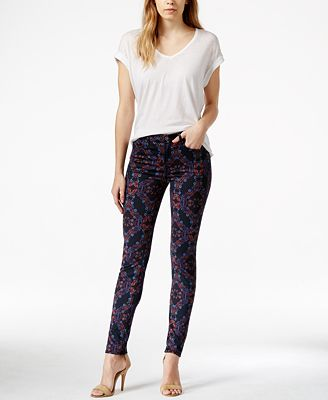 7 For All Mankind Skinny Floral-Print Jeans