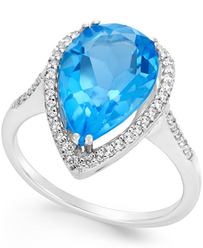 Blue and White Topaz Halo Ring (5 ct. t.w.) in Sterling Silver