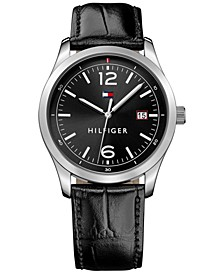 Men's Table Black Leather Strap Watch 41mm