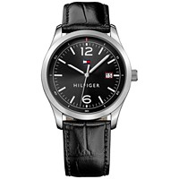 Deals on Tommy Hilfiger Men's Table Black Leather Strap Watch 41mm