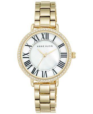 Anne Klein Women's Gold-Tone Stainless Steel Bracelet Watch 36mm AK/2190MPGB