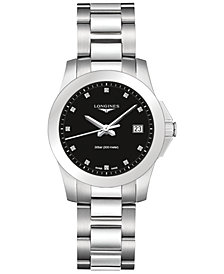 Longines Women's Swiss Conquest Diamond Accent Stainless Steel Bracelet Watch 34mm L33774576