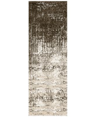 "Fusion Ivory/Brown 2'5"" x 7'7"" Runner Rug"