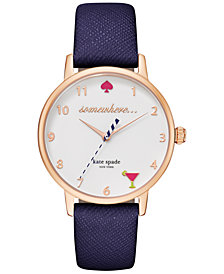 kate spade new york Women's Metro Navy Leather Strap Watch 34mm KSW1040