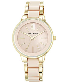 Anne Klein Women's Gold-Tone Blush Link Bracelet Watch 37mm AK-1412BMGB