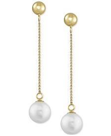 EFFY Cultured Freshwater Pearl (7mm) Drop Earrings in 14k Gold