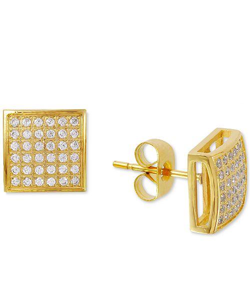 Macy's Men's Diamond Stud Earrings (3/8 ct. t.w.) in Yellow IP-Plated Stainless Steel