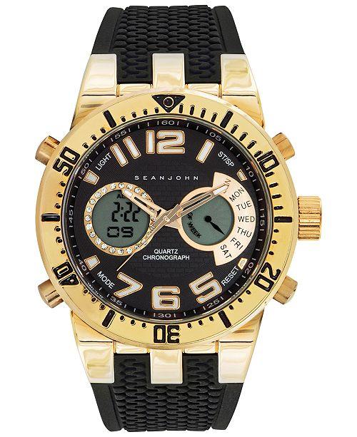 Sean John Men's Analog-Digital Chronograph Black Silicone Strap Watch 46mm 10027464