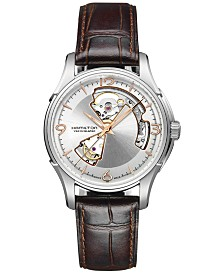 Hamilton Men's Swiss Automatic Jazzmaster Open Heart Brown Calf Leather Strap Watch 40mm H32565555