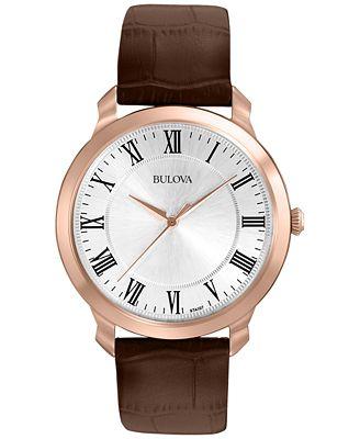 Bulova Men's Brown Leather Strap Watch 41mm 97A107