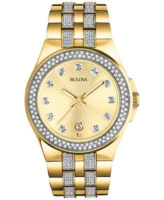 Bulova Men's Crystal Accent Gold-Tone Stainless Steel Bracelet Watch 42mm 98B174