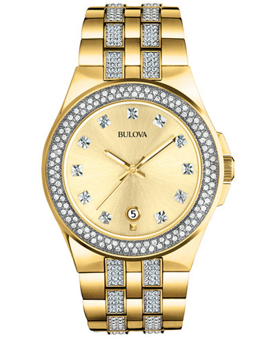 Bulova Men S Crystal Accent Gold Tone Stainless Steel