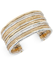 Two-Tone Waide Banded Cuff Bracelet