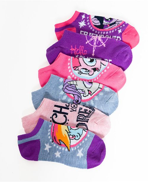 Angry Birds My Little Pony No-Show Ankle Socks, 5-Pack, Little Girls