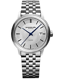 RAYMOND WEIL Men's Swiss Automatic Maestro Stainless Steel Bracelet Watch 40mm 2237-ST-65001