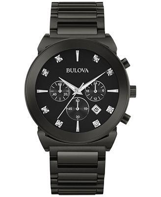 Bulova Men's Chronograph Diamond Accent Black-Tone Stainless Steel Bracelet Watch 41mm 98D123
