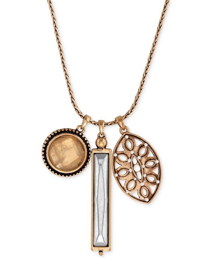 Lucky Brand - Gold-Tone Crystal and Cutout Charm Necklace
