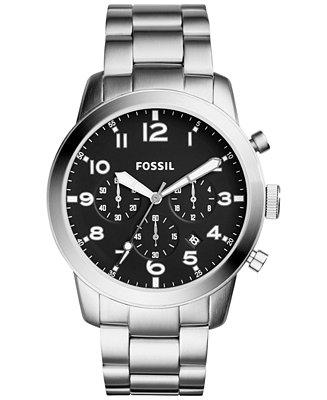 Fossil Men's Chronograph 54-Pilot Stainless Steel Bracelet