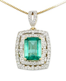 RARE Featuring GEMFIELDS Certified Emerald  (1-1/5 ct. t.w.) and Diamond (1/4 ct. t.w.) Pendant Necklace in 14k Gold