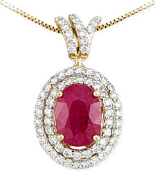 RARE Featuring GEMFIELDS Certified Ruby (1 ct. t.w.) and Diamond (1/3 ct. t.w.) Pendant Necklace in 14k Gold