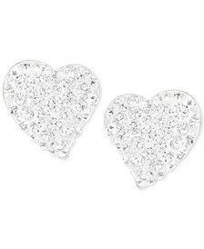 Swarovski Alana Silver-Tone Clear Crystal Heart Stud Earrings