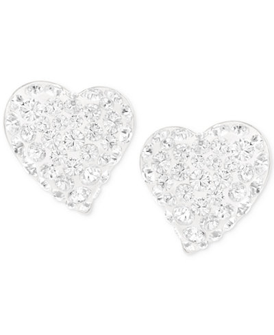 Swarovski Alana Silver-Tone Clear Crystal Heart Stud Earrings