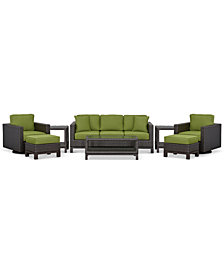 CLOSEOUT! Katalina Outdoor Wicker 8-Pc. Seating Set (1 Sofa, 1 Club Chair, 1 Swivel Glider, 1 Coffee Table, 2 Ottomans and 2 End Tables), Created for Macy's