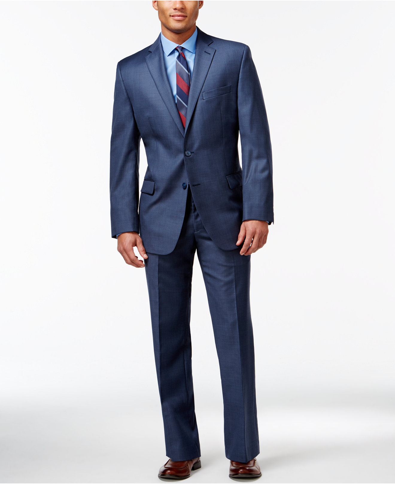 Calvin Clein Blue Suit Brown Shoes