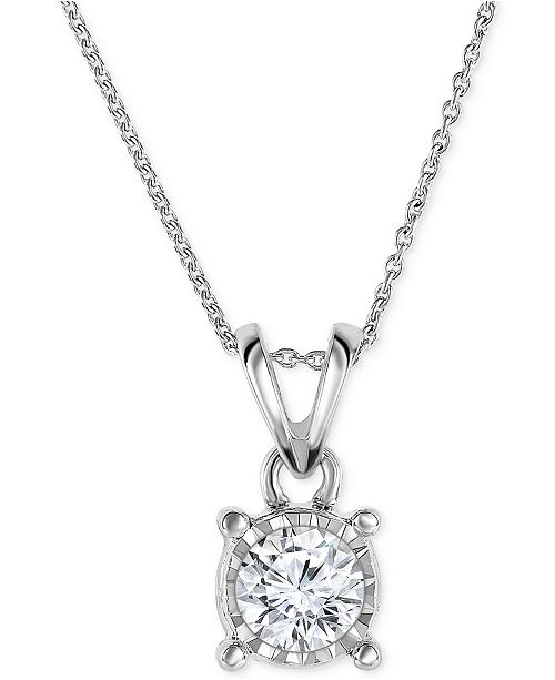 """TruMiracle Diamond Pendant 18"""" Necklace in 14k Gold, Rose Gold or White Gold (1/2 ct. t.w.)"""