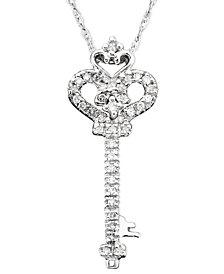 Diamond Key Pendant Necklace in 14k White Gold (1/10 ct.t.w.)